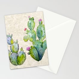 Water Color Prickly Pear Cactus Adobe Background Stationery Cards