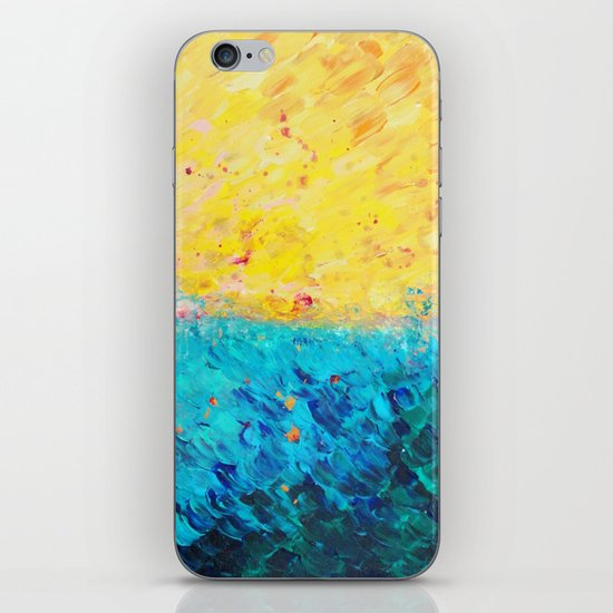 THE DIVIDE - Stunning Bold Colors, Ocean Waves Sun, Modern Beach Chic Theme Abstract Painting iPhone & iPod Skin