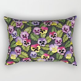 Purple, Red & Yellow Pansies With Green Leaves - Floral/Botanical Pattern Rectangular Pillow