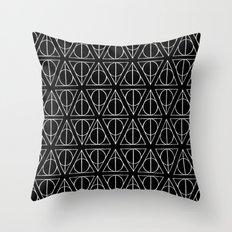 Hand Drawn Deathly Hallows // white  Throw Pillow