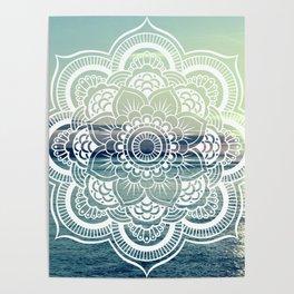 Mandala : Teal Sea Sunset Poster