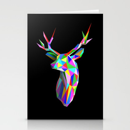 3D Stag Black Background Stationery Cards
