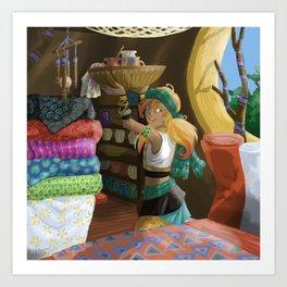 Paintings on textile Art Print