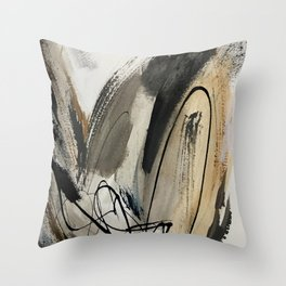 Drift [5]: a neutral abstract mixed media piece in black, white, gray, brown Deko-Kissen