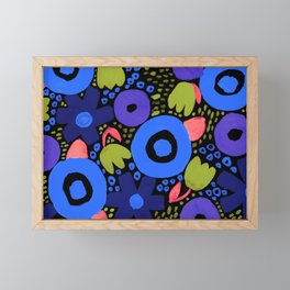Bold Abstract Floral Inspired Pattern (Light/Dark Blue, Purple, Coral, Pea Green) Framed Mini Art Print