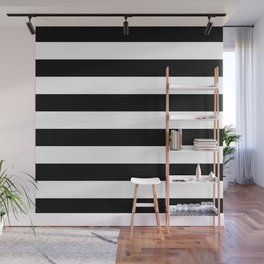 Stripe Black & White Horizontal Wall Mural