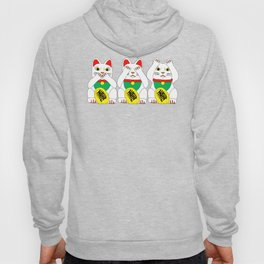 Three Wise Lucky Cats on Red Hoody