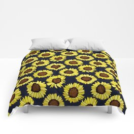 Sunflowers are the New Roses! - Navy Comforters