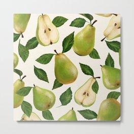 Green Pears Metal Print