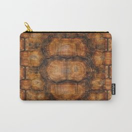 Brown Patterned  Organic Textured Turtle Shell  Design Carry-All Pouch