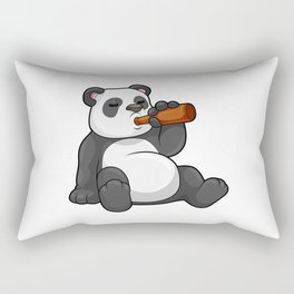 Panda with Bottle of Beer Rectangular Pillow