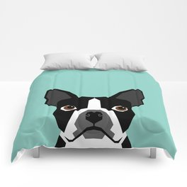 Logan - Boston Terrier pet design with bold and modern colors for pet lovers Comforters
