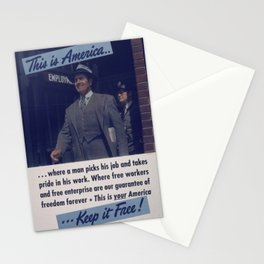 Vintage American World War 2 Poster - This is America: A Man Takes Pride in his Work (1943) Stationery Cards
