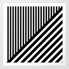 Black and White Diagonal Stripes Art Print