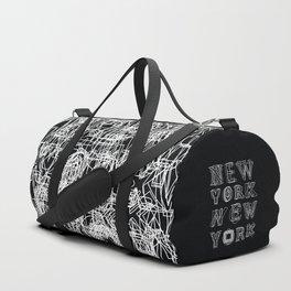 New York black and white Duffle Bag