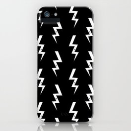 Bolts lightening bolt pattern black and white minimal cute patterned gifts iPhone Case