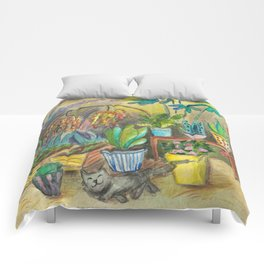 gardener at work illustration watercolor Comforters