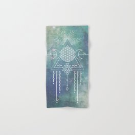 Mandala Flower of Life in Turquoise Stars Hand & Bath Towel