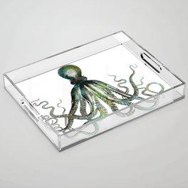 Octopus marine life watercolor art Acrylic Tray