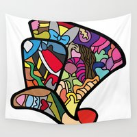 mad hatter Wall Tapestries featuring Mad hatter by Ilse S