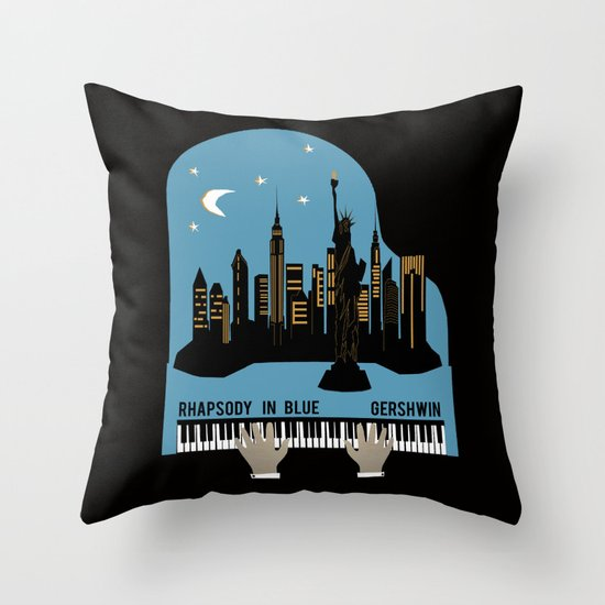 Rhapsody in Blue - Gershwin Throw Pillow