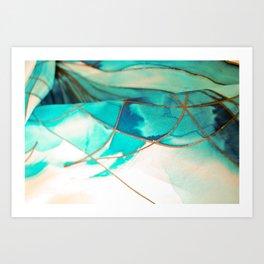 Teal on Silk Art Print