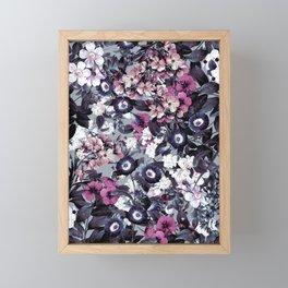 Forest Night Garden Gray Framed Mini Art Print