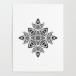 #8 Geometric Abstract Floral Ornament - Black And White Poster