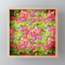 Floral Lotus Flowers Pattern with Dragonfly Framed Mini Art Print