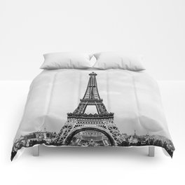 Eiffel tower in B&W with painterly effect Comforters