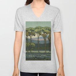Japanese Block Print Summer Landscape Unisex V-Neck
