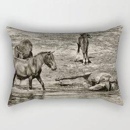 Horses taking a bath and relaxing Rectangular Pillow