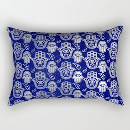 Hamsa Hand pattern - pearl and silver on lapis lazuli Rectangular Pillow