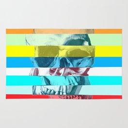 Striped Glitch Skull Rug
