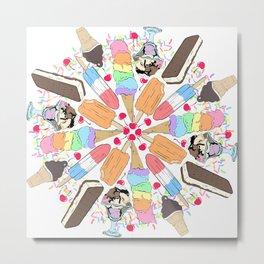 Ice Cream Mandala Metal Print