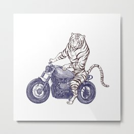 Tiger on a Motorcycle Metal Print