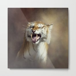 Sabertooth tiger portrait.Digital art Metal Print