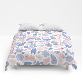 Colors Of The Year Doodle - Rose Quartz & Serenity - Pantone Comforters