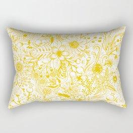 Yellow Floral Doodles Rectangular Pillow