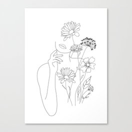 Minimal Line Art Woman with Flowers III Canvas Print