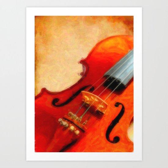 Violin and vintage background Art Print
