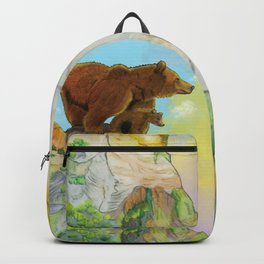 Grizzly momma bear and cub standing on a rock looking the forest Backpack