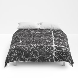 Watercolor Chinoiserie Block Floral Print in Black Ink Porcelain Tiles Comforters