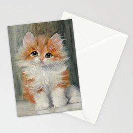 Long Haired Ginger Kitten Painting Stationery Cards
