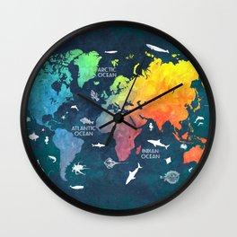 Ocean World Map color #map #worldmap Wall Clock