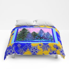 YELLOW-BLUE WINTER SNOWFLAKES  FOREST TREE  ART Comforters