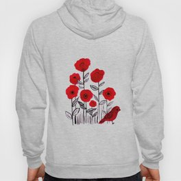 Tall poppies and red bird Hoody