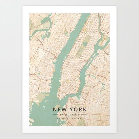 New York, United States - Vintage Map by designermapart