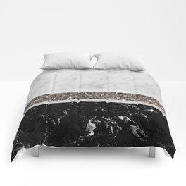 White and Black Marble Silver Glitter Stripe Glam #1 #minimal #decor #art #society6 Comforters