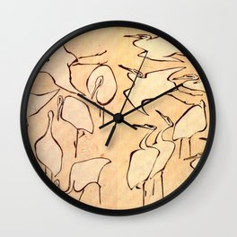 "Katsushika Hokusai ""Cranes from Quick Lessons in Simplified Drawing"" (1823)(original) Wall Clock"